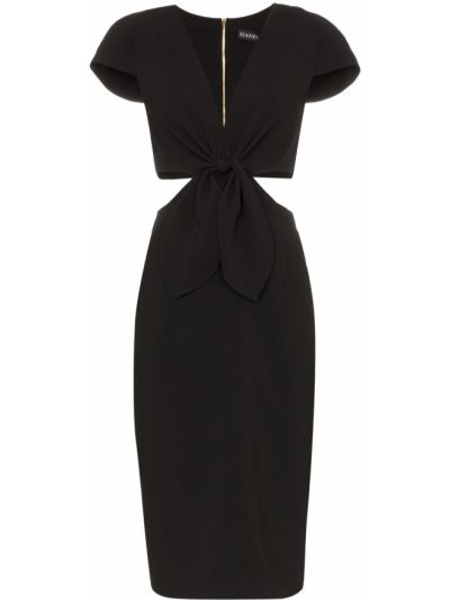 Czarna sukienka na co dzień z dekoltem w serek Haney