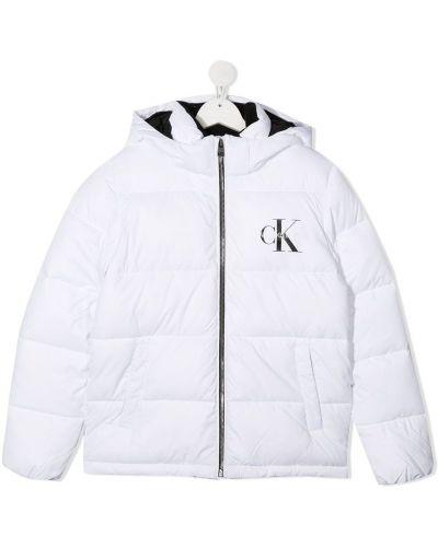 Белый стеганый пуховик с капюшоном с воротником на молнии Calvin Klein Kids