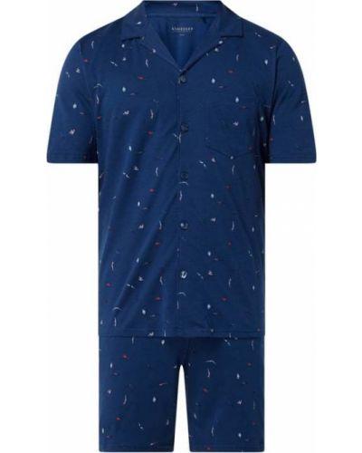 Niebieska piżamy z szortami bawełniana krótki rękaw Schiesser