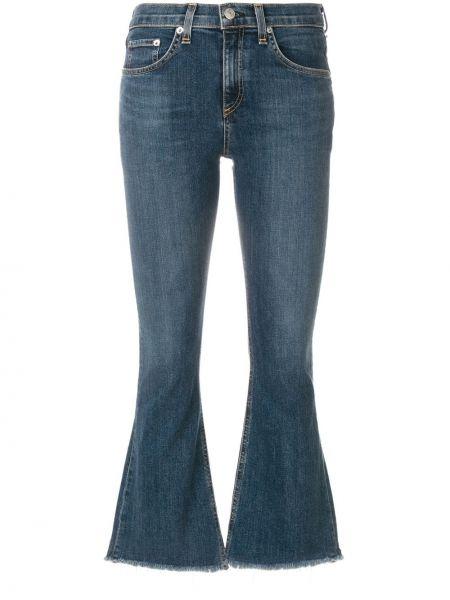 Укороченные джинсы расклешенные синие Rag & Bone/jean