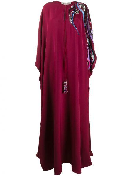 Шелковый красный кафтан с вышивкой Emilio Pucci