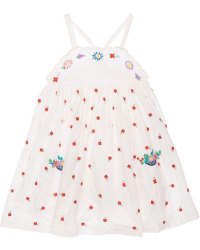 Платье с вышивкой - белое Stella Mccartney Kids