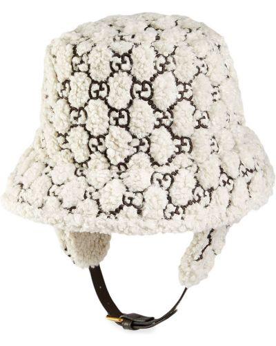 Skórzany z paskiem biały kapelusz z haftem Gucci