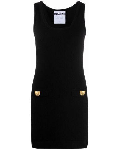 Черное кашемировое платье Moschino
