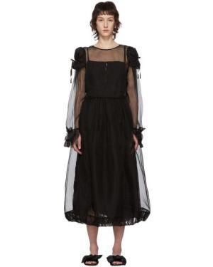 Платье макси из фатина с манжетами с воротником Renli Su