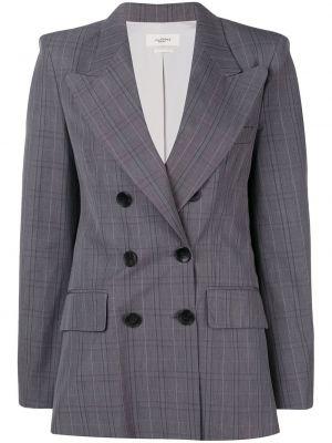 Серый классический пиджак двубортный с карманами Isabel Marant étoile