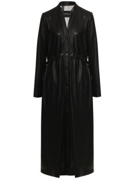 Кожаное пальто тонкое пальто Emporio Armani