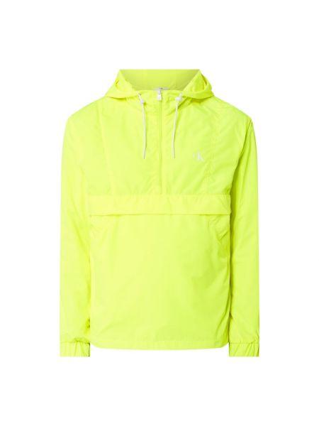 Żółty wiatrówka z kapturem z kieszeniami z zamkiem błyskawicznym Calvin Klein Jeans