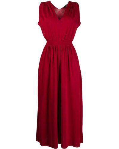 Шелковое красное платье макси с поясом Loro Piana