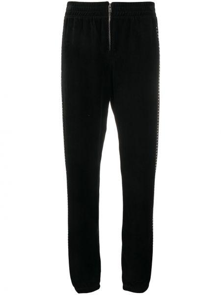 Черные велюровые джоггеры эластичные на молнии Juicy Couture