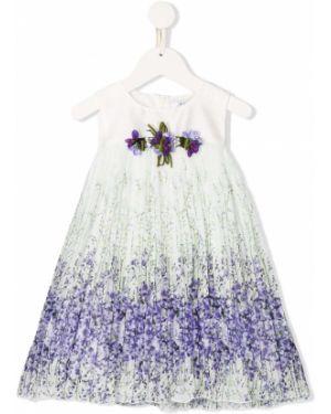 Белое платье с рукавами с вырезом круглое с аппликациями Lesy