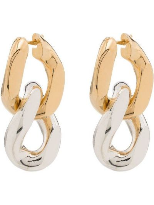 Золотистые серьги-гвоздики золотые Bottega Veneta