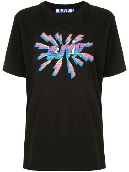 Хлопковая прямая черная футболка с круглым вырезом Sjyp