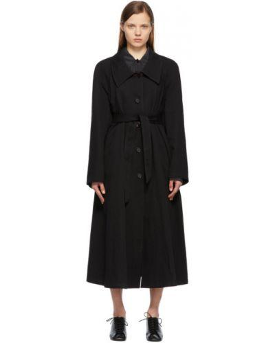 Czarny długi płaszcz z paskiem bawełniany Lemaire