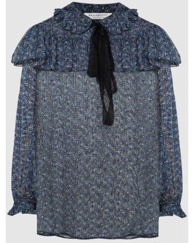 Синяя шелковая блузка Philosophy Di Lorenzo Serafini