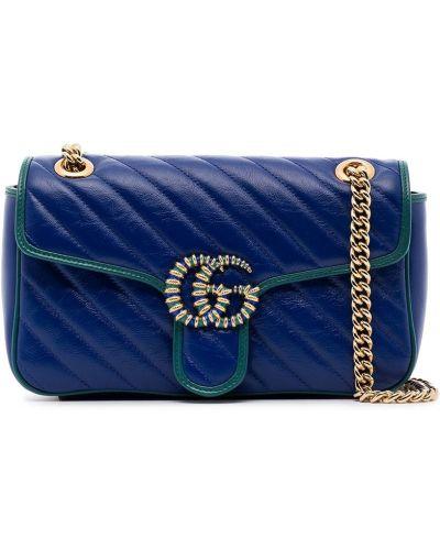 Torebka na łańcuszku skórzana - niebieska Gucci
