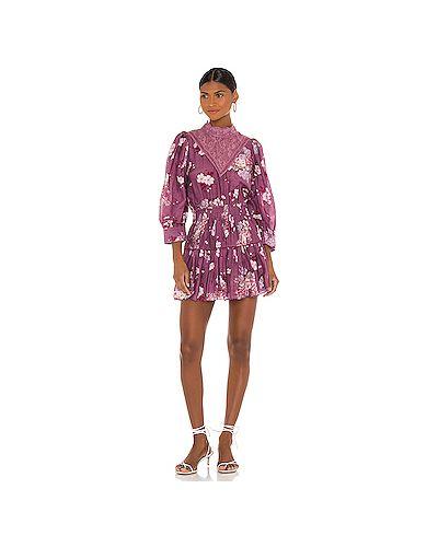 Хлопковое фиолетовое платье мини на пуговицах эластичное Loveshackfancy