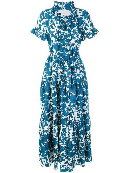 Платье мини с цветочным принтом шелковое La Doublej