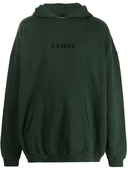 Zielona bluza długa z kapturem z długimi rękawami Balenciaga