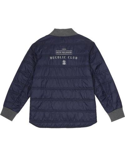 Pikowana puchaty niebieski pikowana kurtka Brunello Cucinelli Kids
