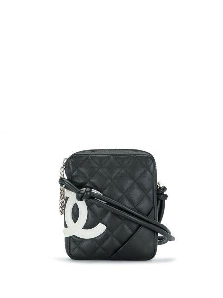 Черная кожаная косметичка с карманами Chanel Pre-owned