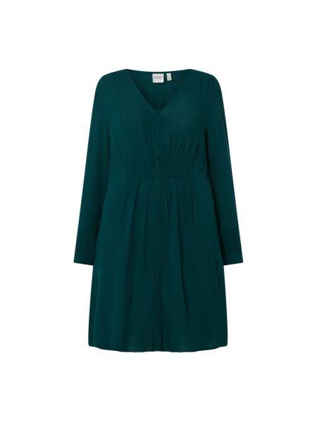 Zielona sukienka rozkloszowana z długimi rękawami Junarose