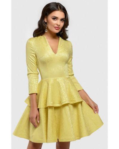 Коктейльное платье весеннее желтый 1001dress