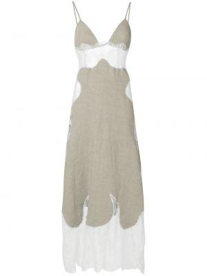 Ажурное льняное белое платье миди Off-white
