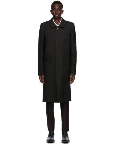 Czarny długi płaszcz wełniany z długimi rękawami Bottega Veneta