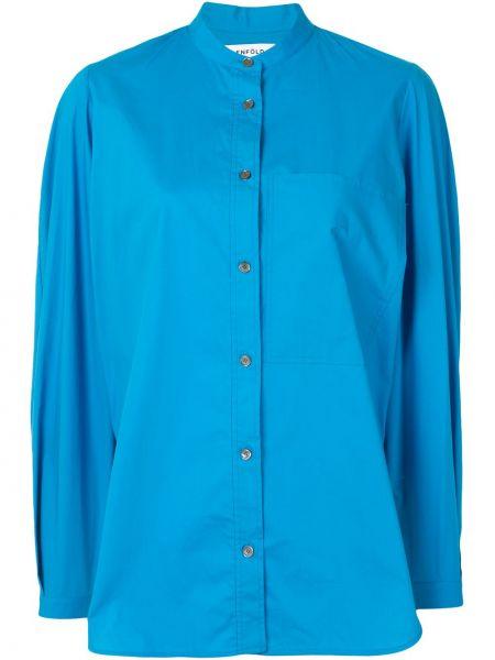 Niebieski bawełna bluzka z długim rękawem zapinane na guziki z mankietami Enfold