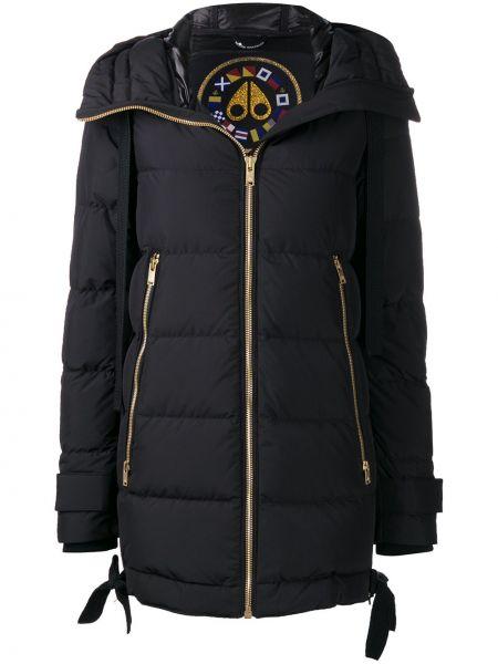 Прямое черное длинное пальто с капюшоном Moose Knuckles