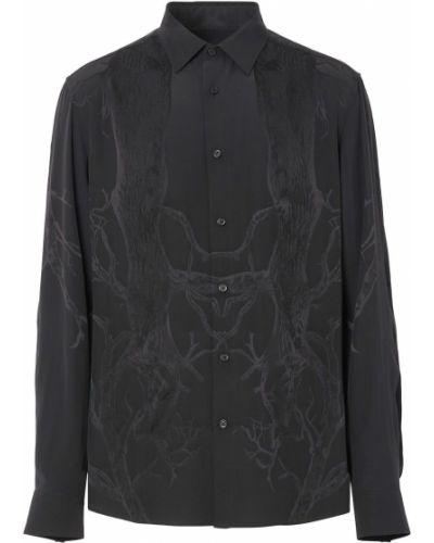 Koszula slim z długimi rękawami - czarna Burberry