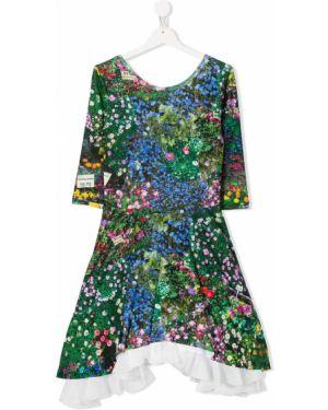Расклешенное зеленое платье с рукавами с вырезом круглое Natasha Zinko Kids