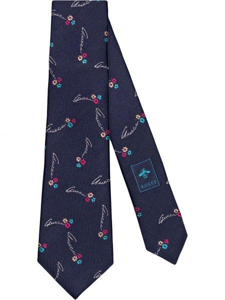 Krawat w kwiaty - niebieski Gucci