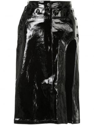 Кожаная юбка миди - черная Ann Demeulemeester