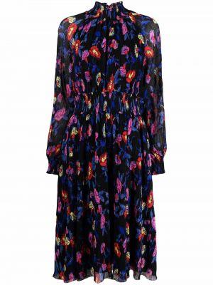 Czarna sukienka długa w kwiaty Dvf Diane Von Furstenberg
