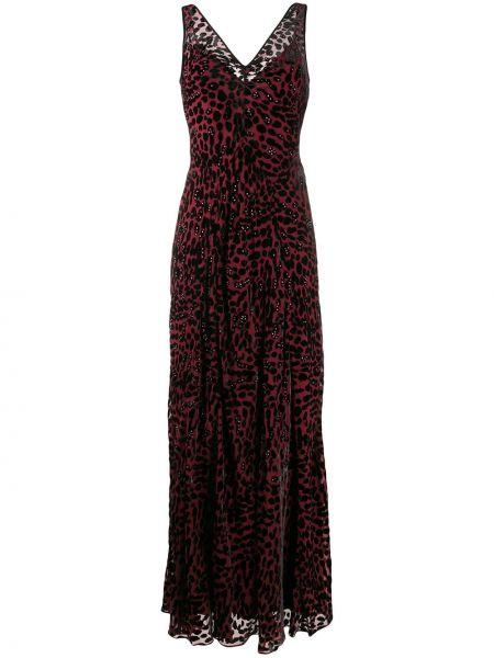 Платье макси леопардовое с V-образным вырезом Dvf Diane Von Furstenberg