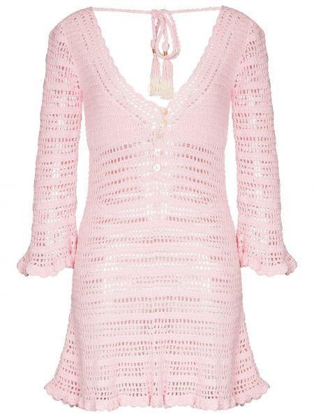 С рукавами розовое платье с оборками She Made Me