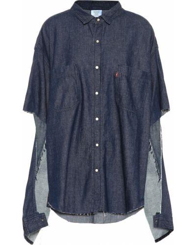 Markowe bawełna bawełna niebieski koszula jeansowa Vetements