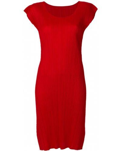 Платье миди красный шифт Pleats Please By Issey Miyake