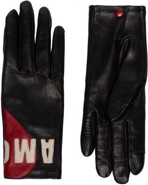 Шелковые черные кожаные перчатки на кнопках Agnelle