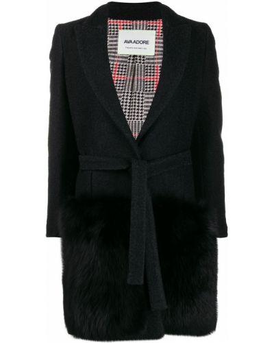 Шерстяное черное пальто классическое с поясом Ava Adore