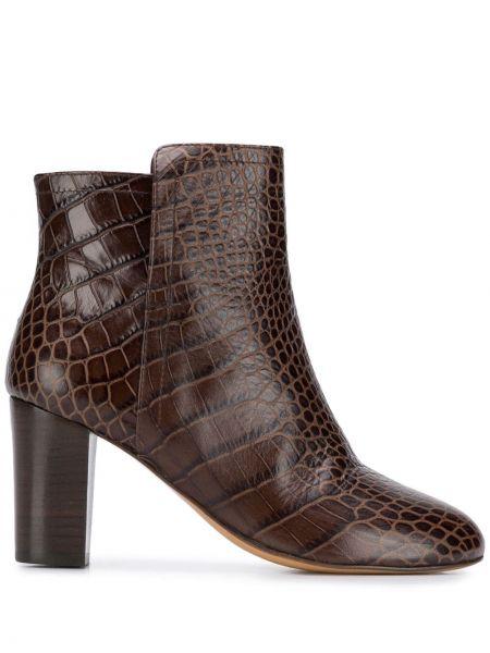 Коричневые ботинки на каблуке из крокодила Tila March