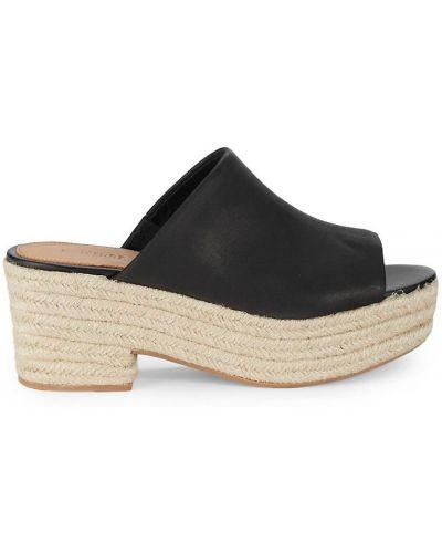 Czarne sandały skórzane na obcasie Soludos