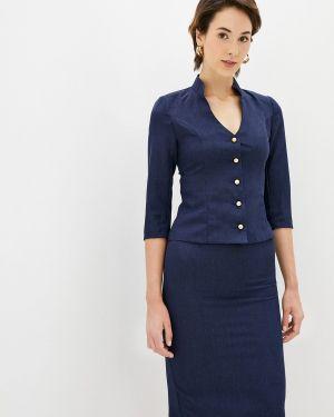 Синий костюмный вязаный юбочный костюм Maurini
