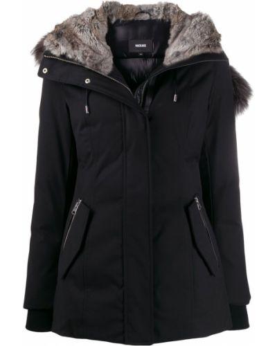 Куртка с капюшоном черная с опушкой Mackage