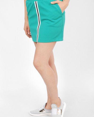 Бирюзовая плиссированная юбка мини Sab