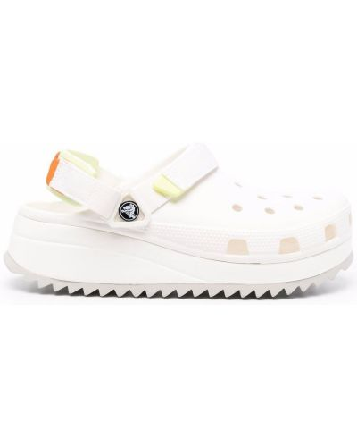 Sandały na platformie - białe Crocs