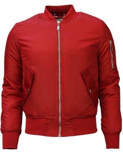 Czerwona długa kurtka z nylonu Beluomo