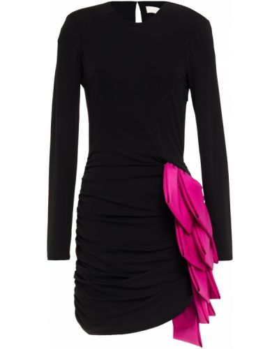 Трикотажное черное платье мини с оборками Ronny Kobo